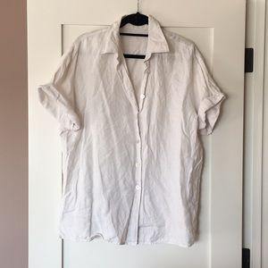 Vintage white linen button up short sleeve